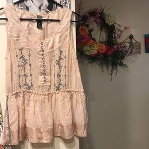 Anthropologie sheer silk blouse